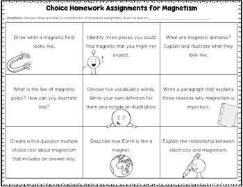 Magnetism Choice Homework Assignment FREE