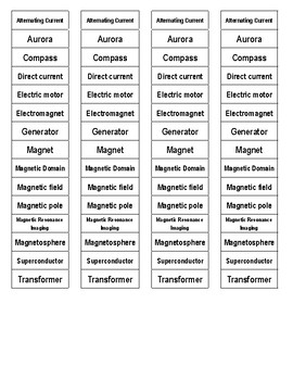 Magnetism Cut-n-Paste Vocabulary