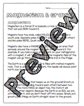 Magnetism & Gravity Worksheet