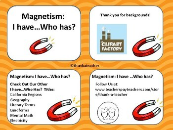 Magnetism I Have Who Has? Game