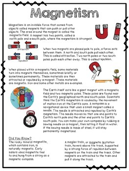 Magnetism Informational Reading Passage and Comprehension Sample