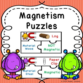 Science Magnets Activity Puzzles for Magnetic and Non-magnetic Sort Game