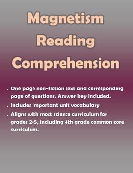 Magnetism Reading Comprehension