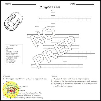 Magnetism Crossword Puzzle