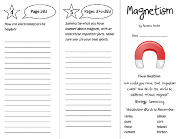 Magnetism Trifold - Imagine It 4th Grade Unit 4 Week 2