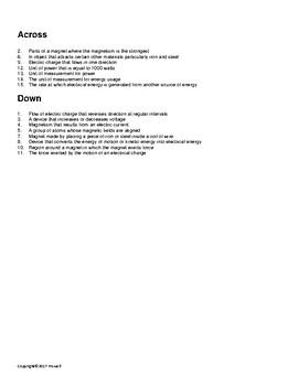 Magnetism Vocabulary Crossword for Physical Science