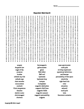 Magnetism Vocabulary Word Search for Physics or Physical Science