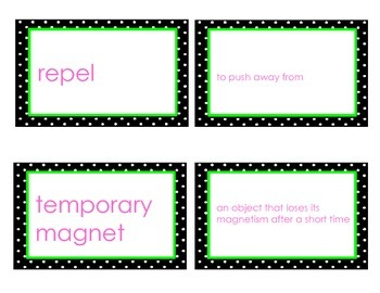 Magnetism Vocabulary Flash Cards