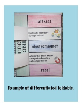 Magnetism Vocabulary Interactive Science Notebook Foldable