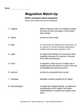 Magnetism Worksheet by Savetz Publishing | Teachers Pay Teachers