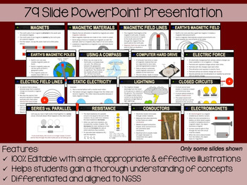 Magnets and Electricity PowerPoint, Notes & Exam (Differentiated and Editable)