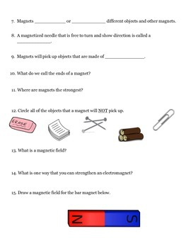 Magnetism and Electromagnetism Quiz- Pre-Test/Post-Test