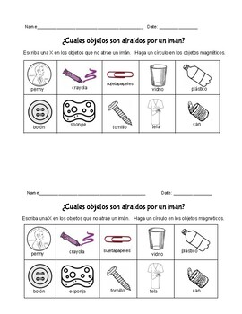 Magnets  - 3 Activities in Spanish