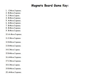 Magnets Board Game Cards and Answer Key