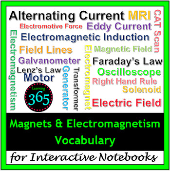 Magnets & Electromagnetism Vocabulary for Interactive Notebooks