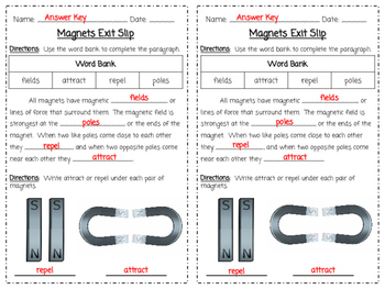 Magnets Exit Slip **EDITABLE**