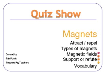 Magnets Game Review Card Version