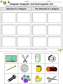 Magnets: Magnetic and Nonmagnetic Sort Cut and Paste Activity #4 - Pictures