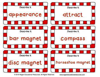 Vocabulary Activities | Magnet Activities | Magnets Vocabulary | Magnet Game
