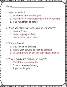 Motion and Force Reading Comprehension