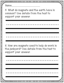 Magnets Reading Comprehension Activity