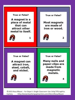 Magnets Science Task Cards