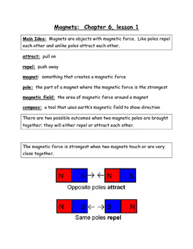 Magnets Study Guide and Test Prep 3rd Grade Science