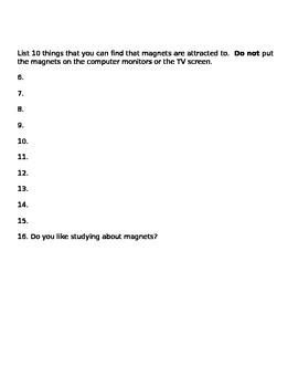 Magnets Task Sheet