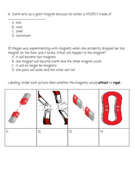 Magnets Test 2nd Grade SOL Aligned