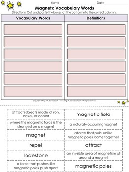 Magnets: Vocabulary Words Cut and Paste Activity #1 - King Virtue's Classroom