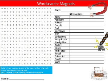 Magnets Wordsearch Puzzle Sheet Keywords Science Physcis