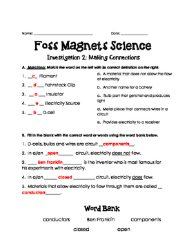 Magnets and Electricity Foss Investigation 2 Assessment