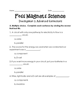 Magnets and Electricity Foss Investigation 3 Assessment