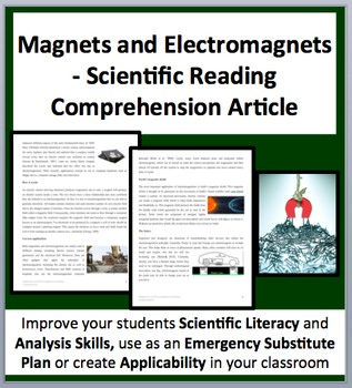 Magnets and Electromagnets - A Science Reading Comprehension Resource