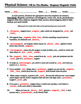 Magnets and Magnetic Fields - Worksheet - Fill in the blank