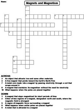 magnets and magnetism worksheet crossword puzzle by science spot. Black Bedroom Furniture Sets. Home Design Ideas