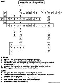 Magnets and Magnetism Worksheet/ Crossword Puzzle