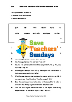 Magnets and forces (online activities) Lesson plan and Worksheet