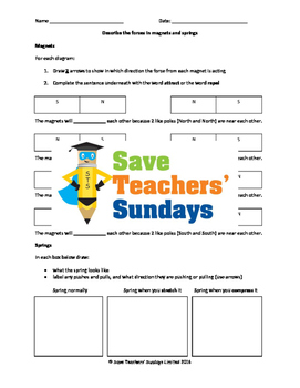 Magnets, springs and forces Lesson plan and Worksheet