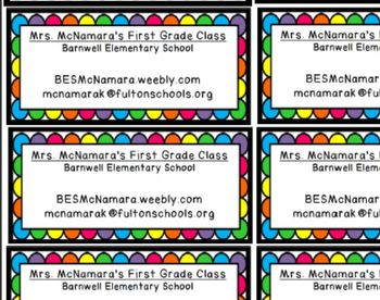 Magnets with Teacher Information for Open House
