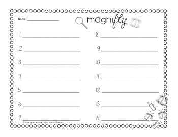 MagniFLY: a write the room sight word activity for spring