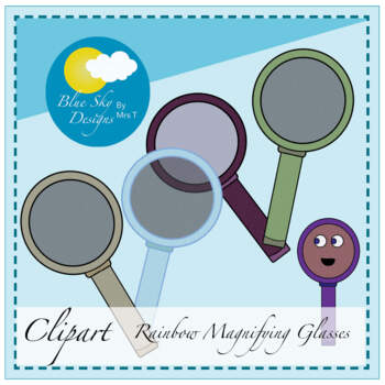 Magnificent Magnifying Glasses Rainbow Clip Art (Science)