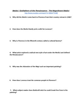 Magnificent Medici Movie Viewing Questions