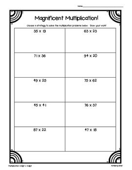 Magnificent Multiplication!--Leveled Practice Worksheets for 2x1, 2x2 and 3x1