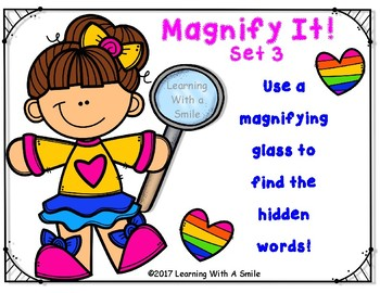 Magnify It! Set 3 – Use a Magnifying Glass to Find the Hidden Words
