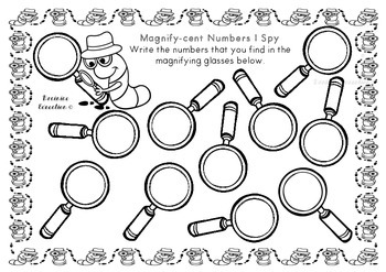 Magnifying Glass Finder Cards - Numbers 0-20 - US FONT