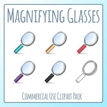 Magnifying Glasses 2 Clip Art Set for Commercial Use