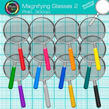 Rainbow Magnifying Glasses Clip Art {Detective & Close Reading Graphics} 2