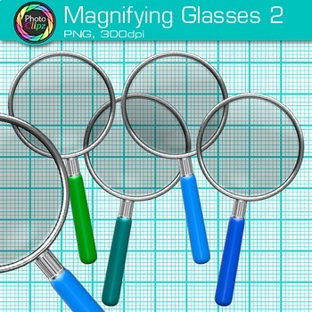 Rainbow Magnifying Glasses Clip Art {Detective & Close Reading Graphics} 2