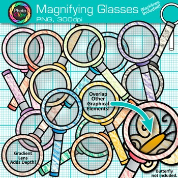 Rainbow Magnifying Glasses Clip Art {Science & Close Readi